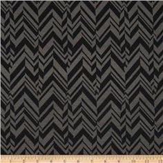 Poly Rayon Ponte Roma Knit Chevron Grey/Black