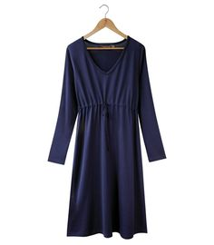 Silkliving|Silkbody's Silkspun Long Sleeve V Neck Dress