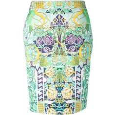 Multicolour silk 'Palma' pencil skirt from Mary Katrantzou featuring a rear zip fastening, a floral print, a straight hem and a rear central vent.