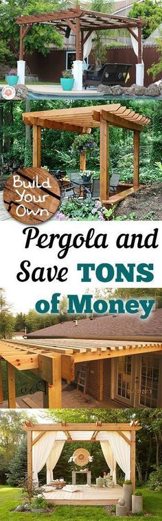 Build Your Own Pergola and Save TONS of Money - How to Build Your Own Pergola, Build Your Own Pergola, DIY Pergola Projects, DIY Pergola Tutorial, Outdoor Living, Outdoor DIY Project, Popular Pin #pergolaplansdiy #pergoladiy #outdoorliving