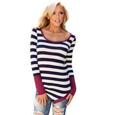 Women Tops Striped T-shirt Long Sleeve Fall Casual T Shirts Fashion