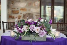 Manor House at Prophecy Creek, purple wedding flowers, lavender wedding flowers, purple centerpieces, vineyard themed wedding centerpiece