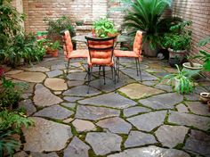Love this rustic patio stone!