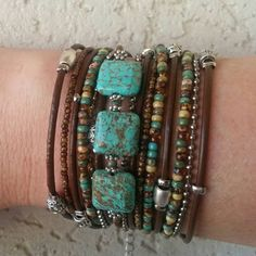 Boho Multi Strand Leather Wrap Bracelet// Turquoise & Brown// Bohemian Jewelry// Infinity Bracelet// Leather Cuff// Tibetan Beaded Bracelet - pinned by pin4etsy.com