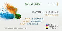 """Corsi DaVinci Resolve 12.5 a Roma e Milano - Color Correction Lab, """"Color Correction & Grading"""" con il software DaVinci Resolve 12 tenuti da Daniele Paglia"""
