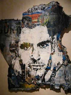 Self Portrait, Alexandre Farto aka Vhils, Collage Art, Street art, Graffiti art.