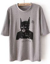 Grey Batwing Short Sleeve Batman Print T-Shirt $27.58  #Sheinside