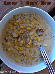 Bacon and corn soup, adapted from a Pioneer Woman recipe