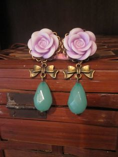 "Lavender Open Rose Plugs with Bows and Seafoam Beads - Girly Gauges - 6g, 4g, 2g, 0g, 00g, 7/16"", 1/2"", 9/16"", 5/8"", 3/4"". $25.00, via Etsy."