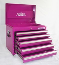 Pink TOOL BOX From The Pink Superstore - Its a tool box but also works great as a small dresser, organizer and much more! The Original Pink Box, Pink Tool Box Pink Tool Box, Rangement Makeup, My Favorite Color, My Favorite Things, Small Dresser, Make Up Storage, Makeup Tools, Makeup Box, Makeup Ideas