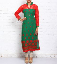 Green & Red Embroidered #Georgette #Kurti