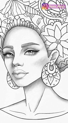Adult coloring page african girl portrait colouring sheet black style pdf printable anti-stress relaxing zentangle line art - Her Crochet Outline Drawings, Pencil Art Drawings, Art Drawings Sketches, African Drawings, African Art Paintings, Colouring Pages, Adult Coloring Pages, Coloring Books, Black Girl Art