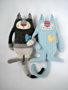 Cashmere Stuffed Animal Sweet Baby Blue Cat by sweetpoppycat.  --- i have some leftover cashmere from baby blanket projects.