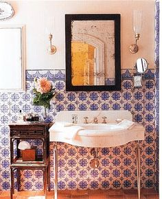 gorgeous tile and old fixtures in this California Mission Revival home's powder room bath. Period Homes