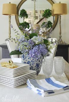 The Chic Technique:  Dear Lillie: Hydrangeas Tablescape or Table Setting in the Dining Room