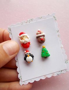 Christmas earrings set with Santa Claus, penguin, Rudolph and Christmas Tree. They are created from polymer clay without molds or forms. A perfect gift for winter holidays and Secret Santa. The lenght of each earring is 1.2 cm. Suitable also for children. ❀ Price is for one set of 4 earrings.