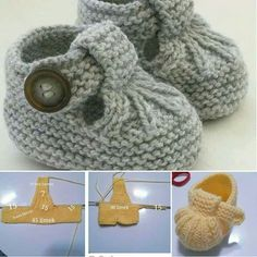 Baby Knitting Patterns 40 + Knit Baby Booties with Pattern - . Baby Booties Knitting Pattern, Crochet Baby Dress Pattern, Crochet Baby Shoes, Crochet Baby Booties, Hand Knitting, Baby Knitting Patterns Free Cardigan, Pattern Dress, Knitting Ideas, Knitting Yarn