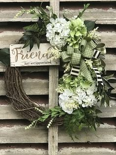 """White and Green Hydrangea wreath for front door, Farmhouse wreath for the front door, """"Friends"""" wreath for front door, farmhouse wreath, – Spring Wreath İdeas. Indoor Wreath, Outdoor Wreaths, Green Hydrangea, Hydrangea Wreath, Etsy Wreaths, Primitive Wreath, Country Wreaths, Wreaths For Front Door, Front Doors"""