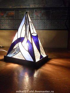 """Купить светильник """"Начало"""" - светильник, авторская работа, авторский светильник, ночник, витражный светильник, синий"""