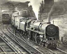 A 1963 picture of Western Star 70025 on freight duty, Britannia Class Locomotive.