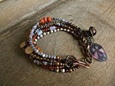 Hipppie Boho Gypsy multi strand bracelet. Ethnic by BeadStonenSkin