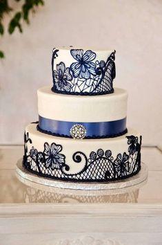 Lace wedding cake  Beautiful lace work