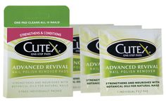 See 54 reviews on Cutex Advanced Revival Nail Polish Remover Pads in Nail Polish Remover: I love these for a mini to-go bag inside my purse. The typical nail removers dry out your nails so bad, making them dry and brittle. These have a s...