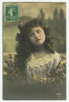 c 1910 Child Children PRETTY LITTLE GIRL French tinted photo postcard