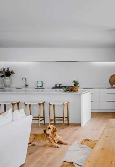 All-white kitchen with timber flooring and marble-topped island bench in a Hamptons-style home.
