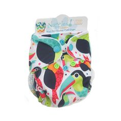 Toucan I Am (Retired) - Bittees Stay-dry Newborn AIO Diaper – Nuggles Designs Canada - This cloth diaper has birds.