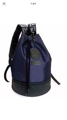 fbe0fcad72dc VERSACE Backpack Blue   Black Rucksack Weekend Gym Sack Medusa with Dust Bag  New Versace Backpack