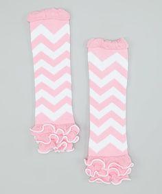 Look what I found on #zulily! Pink & White Zigzag Ruffle Leg Warmers by Whitney Elizabeth #zulilyfinds