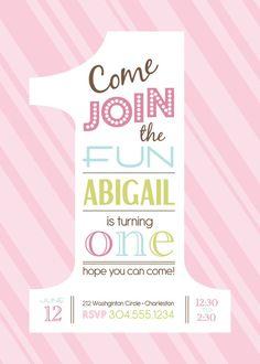 1st BIRTHDAY girls  invitaition  DIGITAL file  by uniqueboutiquewv, $10.50 stella-s-first-birthday-ideas