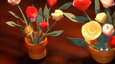 Miniature quilling Rose pot in 3D with NO TOOLS :)