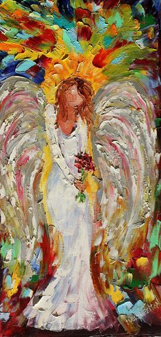 Original oil painting Angel of Mine palette knife modern impressionism fine art impasto by Karen Tarlton