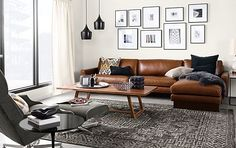 Room & Board - Hess Sofa with Chaise in Brighton Leather