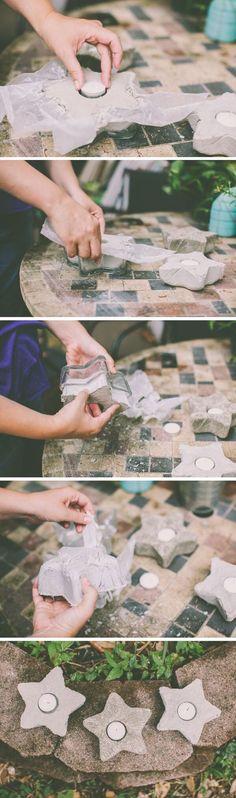 Fun shaped concrete candleholders