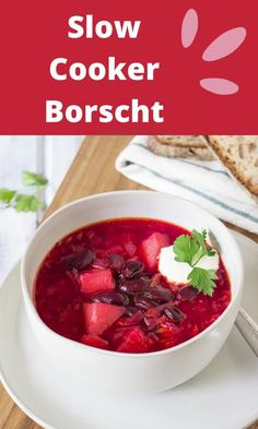 It's a Slow Cooker Borscht made in a crockpot. This vegetarian Beet Soup is great for a clean eating diet weekly menu. Clean Recipes, Crockpot Recipes, Soup Recipes, Vegetarian Recipes, Borscht Soup, Beet Soup, Easy Family Dinners, Clean Eating Diet, Crock Pot Slow Cooker