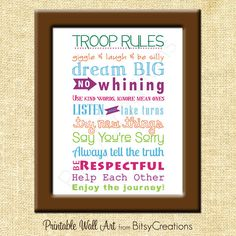 Girl Scouts Troop Rules Subway Art Printable Wall Art by BitsyCreations Instant Download