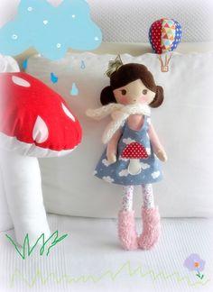 betsypetsy handmade: Królewna Muchomorka Pretty Dolls, Cute Dolls, Rainbow Bedding, Soft Toys Making, Handmade Stuffed Animals, Stuffed Dolls, New Dolls, Toy Craft, Waldorf Dolls