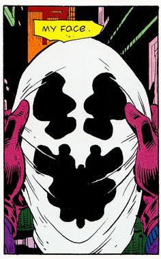 "safetycat: """"Without my face, nobody knows."" Watchmen (January ""Fearful Symmetry"" Art by Dave Gibbons Words by Alan Moore "" Comic Book Artists, Comic Books Art, Comic Art, Dc Comics, Alan Moore Comics, Cosplay Games, Dr Manhattan, Symmetry Art, Dave Gibbons"