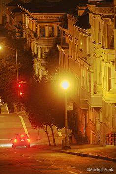 Buildings On Nob Hill At Night, San Francisco  www.mitchellfunk.com