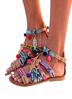 Women Bohemia Sandals,Vanvler Leather Sandals Gladiator Female Flats Shoes Pom-Pom Sandals >>> Check out this great product. (This is an affiliate link) Pom Pom Sandals, Tie Up Sandals, Simple Sandals, Women Sandals, Flat Sandals, Leather Gladiator Sandals, Leather Flats, Lacoste Shoes Women, Outfits