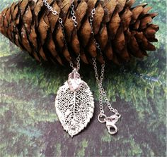 Real Leaves Jewelry, Rose Leaf Pendant, Sterling silver, Sterling silver chain via Etsy