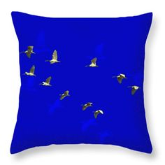 White Ibis In Flight Throw Pillow by Miroslava Jurcik