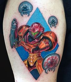 Metroid tattoo done by @marcdurrant. To submit your work use the tag #gamerink And don't forget to share our page too!  #tattoo #tattoos #tatuaje #tatuajes #ink #videogametattoo #gamertattoo #gamerink #videogames #gamer #gaming #nintendo #nes #snes #supernintendo #n64 #gamecube #wii #wiiu #samusaran #metroid #samusarantattoo #metroidtattoo #nintendotattoo #watercolortattoo