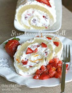 Strawberry Cream Roll cake easy to make any time, spring time, or any occasion. Click thru for easy recipe.