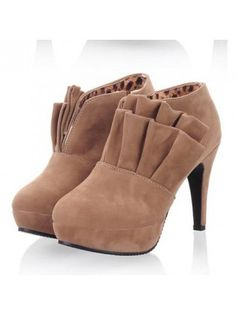 Frills Decoration Apricot Suede Ankle Boots