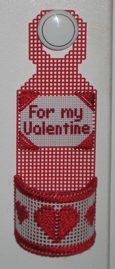 Door Knob Hanger For Valentines Day Made With Plastic Canvas Valentinesday Canvas Door Hanger