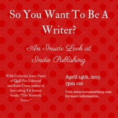 Free Webinar on Indie Publishing with @kcrosswriting and Quill Pen Editorial Services on April 14th at 7pm CST.